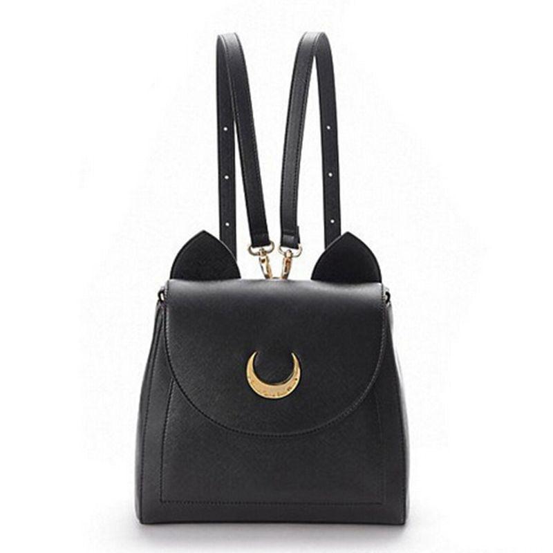Sailor Moon Bolso Bolsos de Las Mujeres Famosas Marcas Negro Gato Blanco Cuero