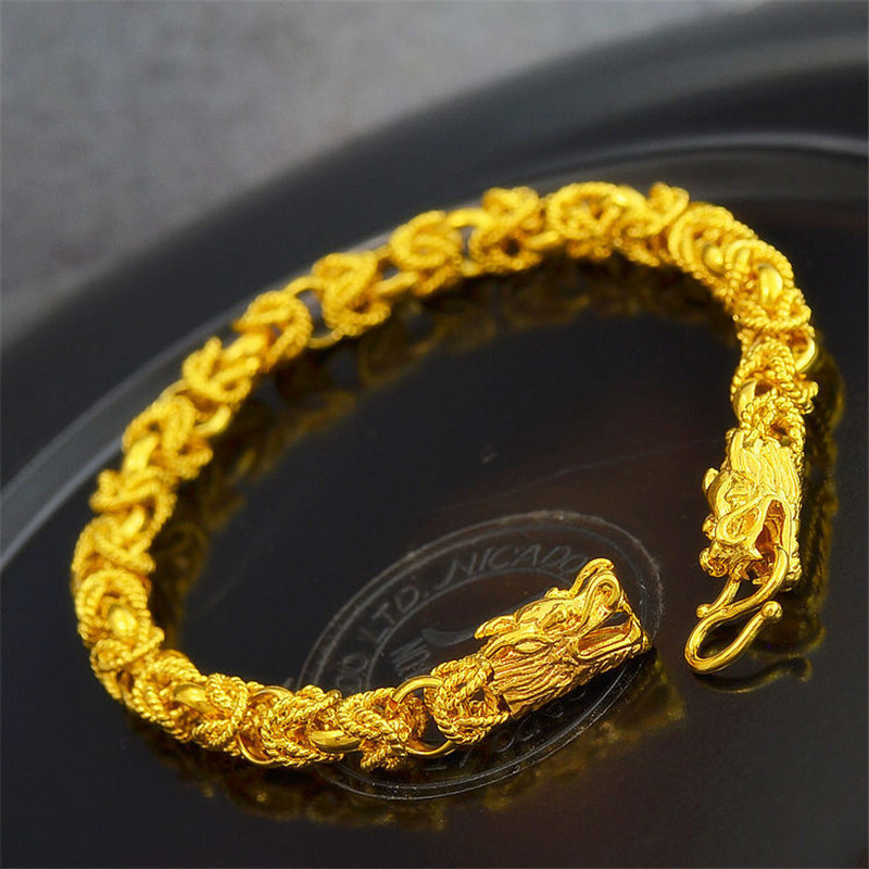2015 Mens Cool Dragon Chain Bracelets 24k Yellow Gold Jewelry Hot