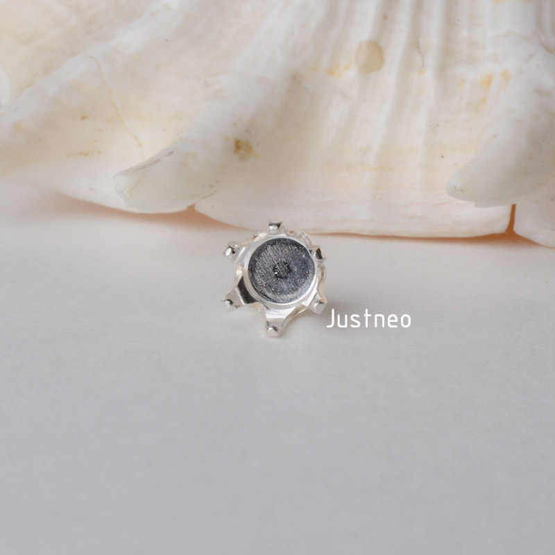 Solid 925 Sterling Silver Locket Settings, 6 Prongs Snap in Setting for Round Stones and Crystal