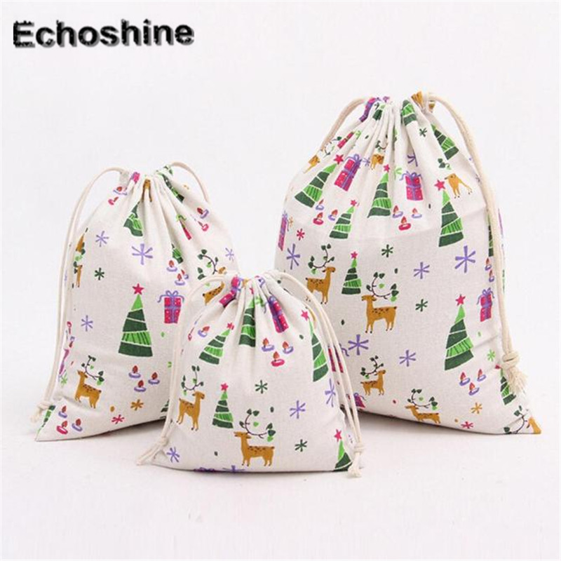 3PCS/SET Wholesale Cotton and Linen Fashion Christmas tree Printing Women Drawstring shopping Bag B05 ...