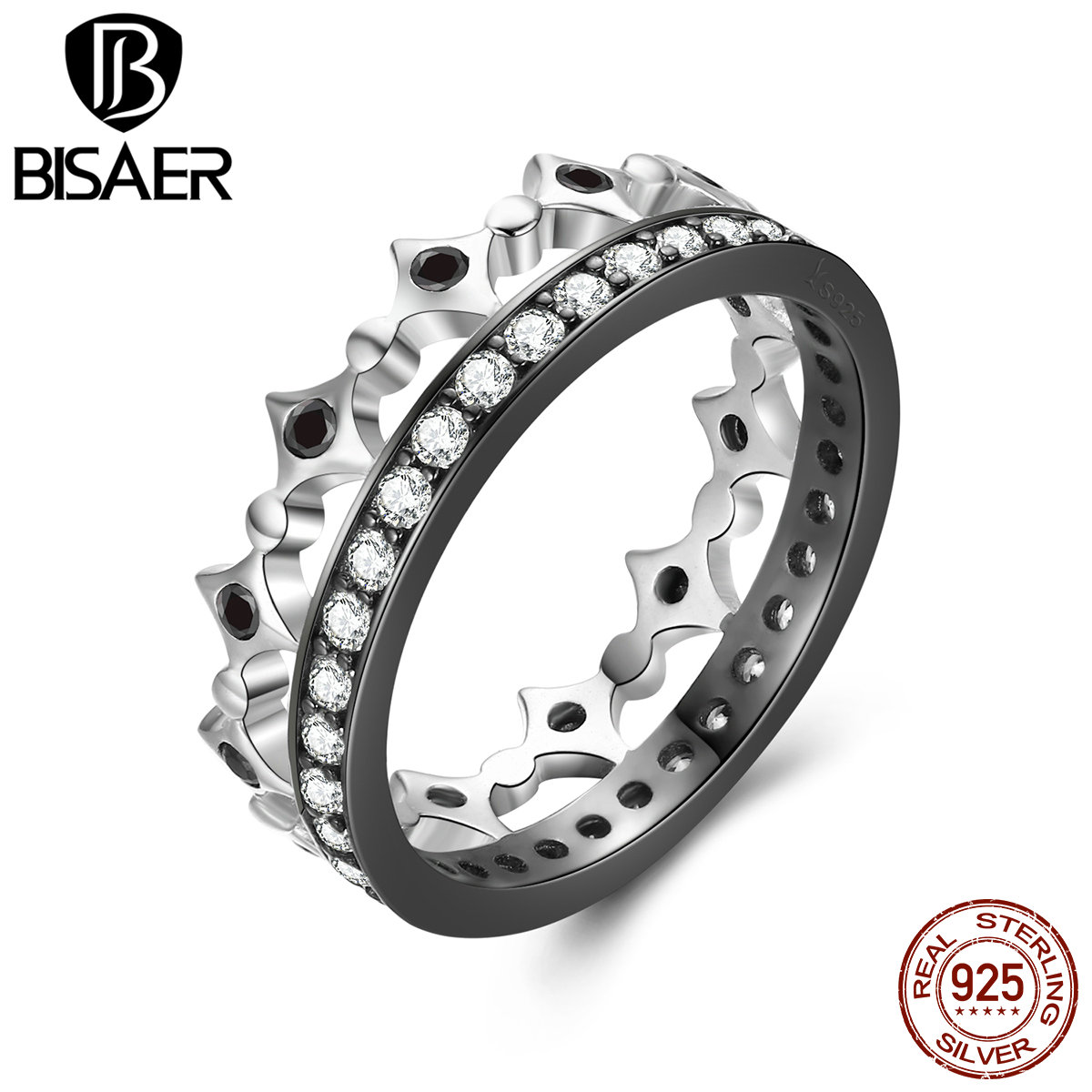 BISAER Genuine 925 Sterling Silver Light Of Freedom Crown Shape Black Zirconia Wedding Rings For Women Fashion Jewelry ECR056