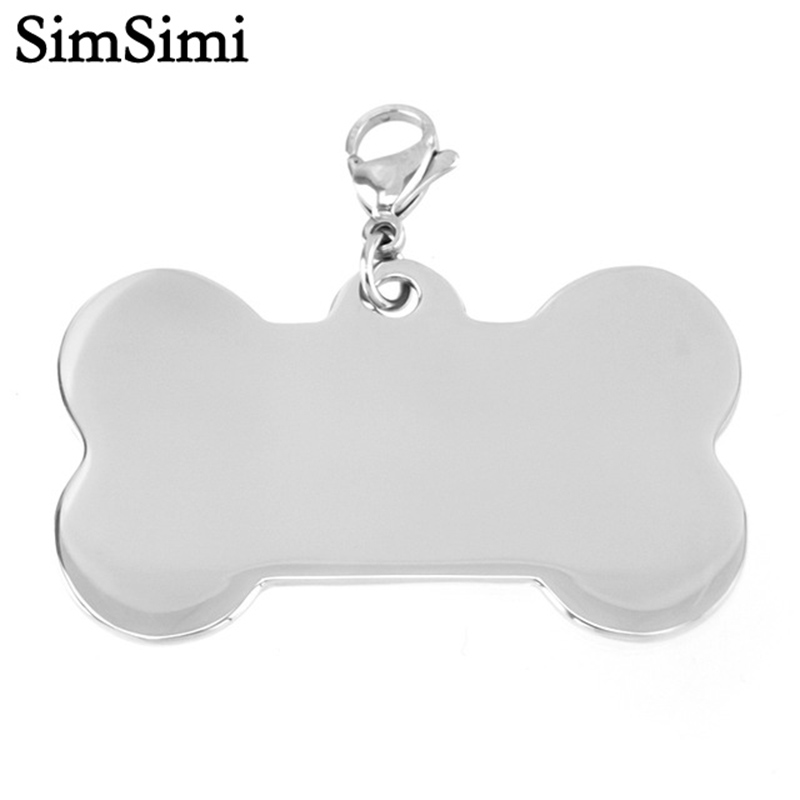 Dog Bone Pendants Bone Shiny Blank Pet ID Tag Kitten Puppy Necklace Stainless Steel MIrror Polish