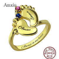Amxiu 100% 925 Sterling Silver Baby Feet Rings For Women Mother Special Gifts Custom Two Names with Birthstones Ring Accessories