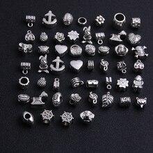 10 Pcs/lot Big Hole Beads Fit Antique Silver Metal Zinc Alloy Mixed DIY Charm for Bracelets