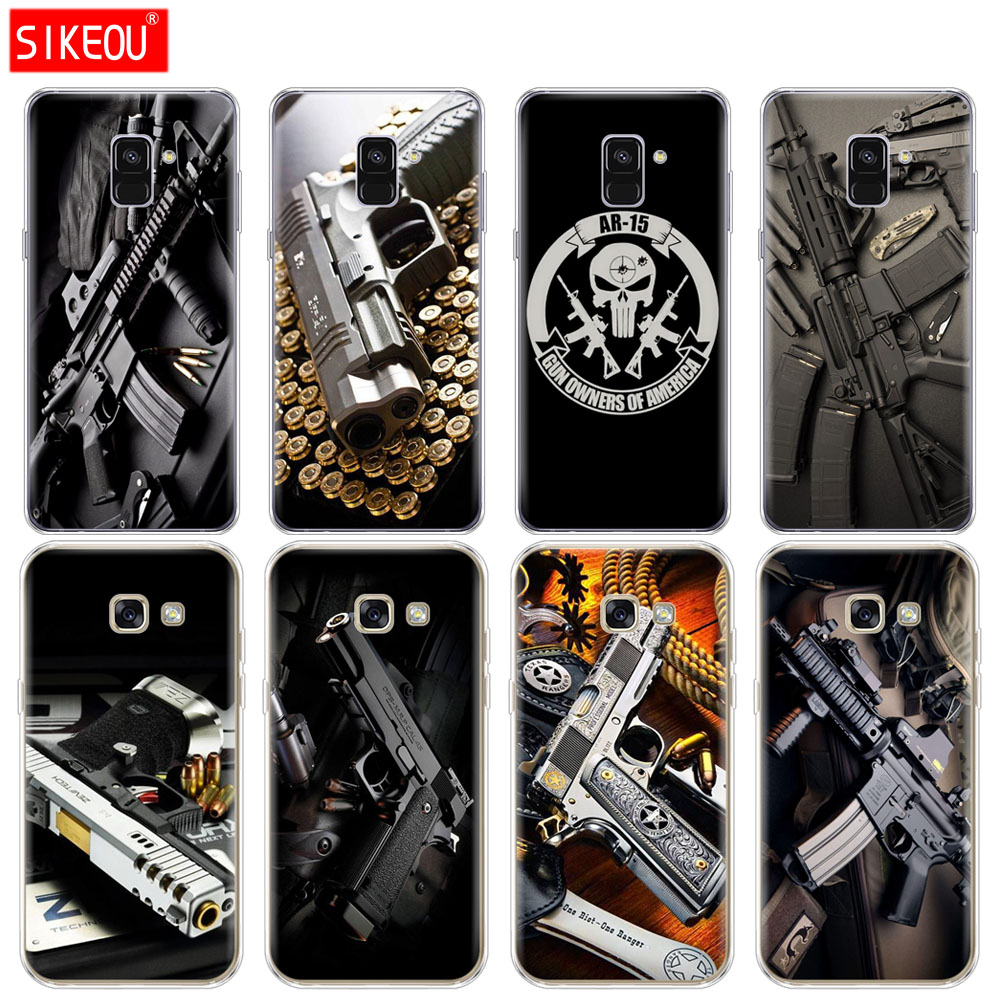 Expressive Silicone Phone Case Cover For Samsung Galaxy A6 A8 2018 A3 A310 A5 A510 A7 2016 2017 Weapons Rifle Guns Sniper Pistol Bullet Phone Bags & Cases