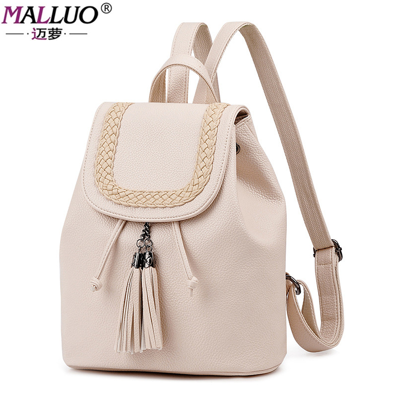 MALLUO Brand Women Backpacks 2017 New Arrive Winter Fashion Preppy Style Leather Backpack For College Student Travel With Tassel 2017 new arrive famous brand designer women bling bling backpack fashion sequins backpack preppy style girl s school bags xa294b