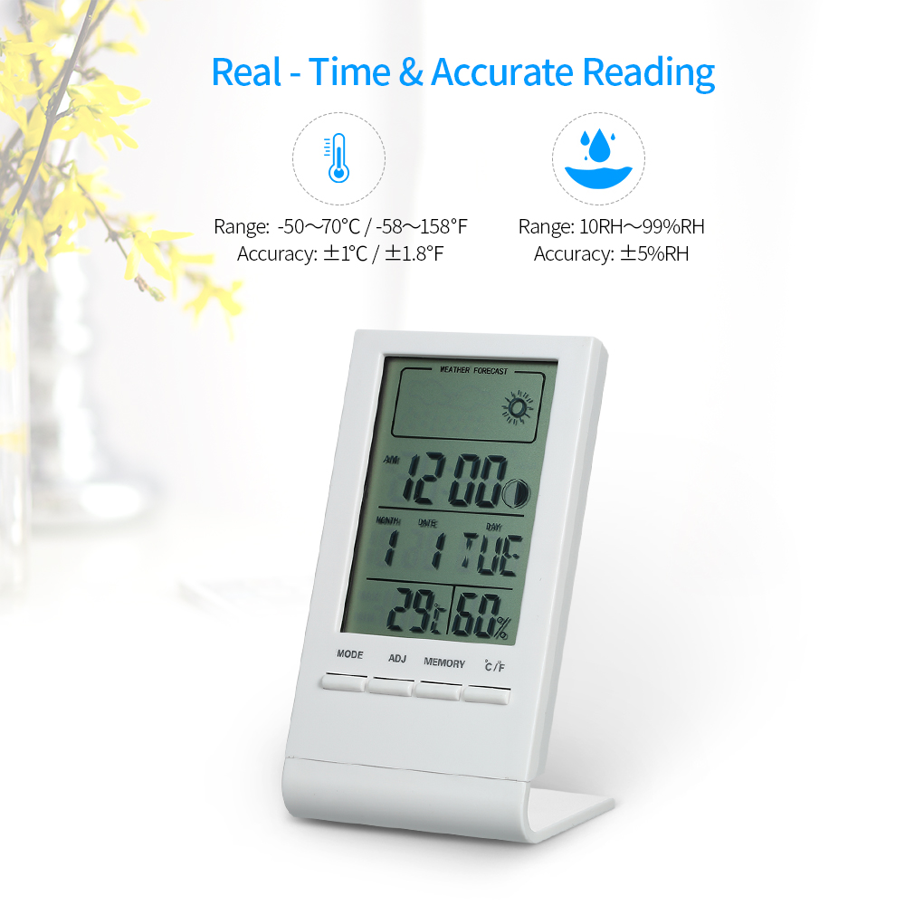 12//24 Hours 4 in 1 Digital Car Voltage Alarm Clock with Indoor//Outdoor Thermometer and LCD Battery Voltage Monitor Detector -122 to 158 Degree F