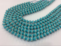 2strings/lot Charming Blue Plated Shell Pearls 8mm Beads With CZ bead jewelry accessories