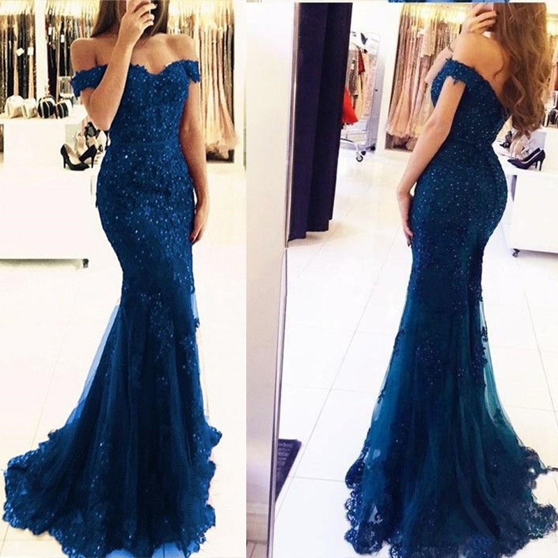 Vestidos de fiesta de noche Sexy Off The Shoulder Lace Mermaid Evening Dress 2019 Custom Made Navy Blue Prom Gown Robe de soiree