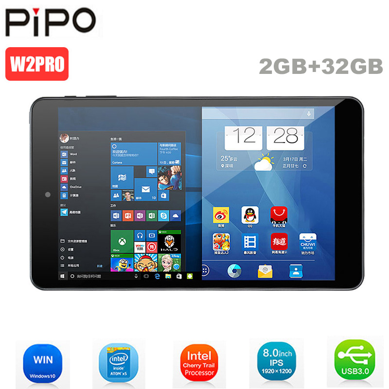 Tablettes d'origine Pipo W2PRO PC 8 pouces écran Full HD IPS Windows 10 Intel Cherry Trail Z8350 Quad Core 2 go + 32 go tablettes double caméra