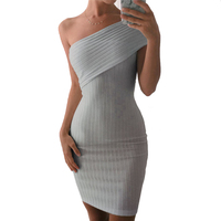 LadySymbol Off Shoulder Summer Dress Women Slim Casual Bodycon Dress Sexy Gray Elegant Autmun Short Party