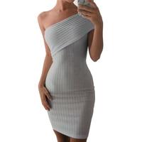 LadySymbol Off Shoulder Summer Dress Women Slim Casual Bodycon Dress Sexy Gray Elegant Autmun Short Party
