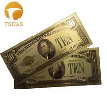 1928 Edition US Rare 24k Gold Banknote Bills 10 Dollars World Fake Money Colorful Artwork Collections Bank Notes