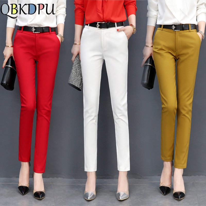 Mom's Hight Quality Plus Size 4XL Elastic Slim Office Pants Women High Waist Cotton Casual Trousers Fashion Candy-colored Pants