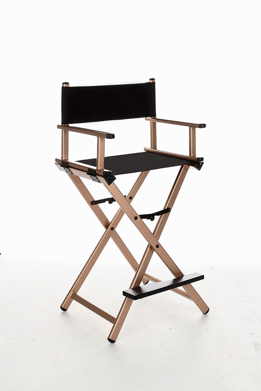 Makeup Artist Folding Director's Chair Aluminum Frame Light Weight Golden Color For Indoor/Outdoor Use Director Chair Foldable makeup artist folding director s chair aluminum frame light weight golden color for indoor outdoor use director chair foldable