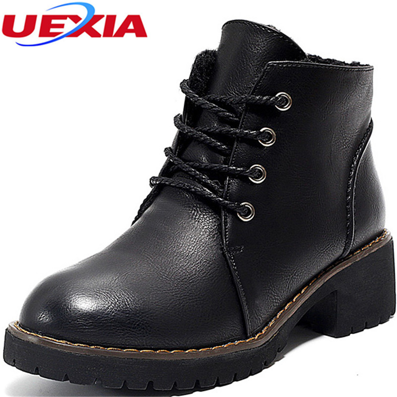 UEXIA Snow Women Boots Cowhide Leather Ankle Boots Warm Winter Woman Shoes  Cotton-padded Snow Casual Shoes Flats bota de neve pu leather martins women boots snow boots military girls for casual walking shoes winter femme bota 2017 7687