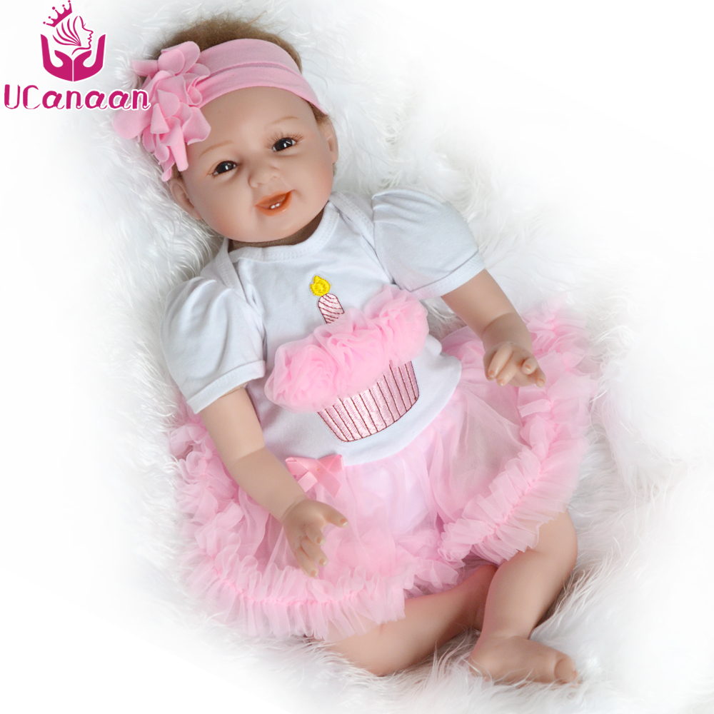 UCanaan 55cm Soft Body Silicone Reborn Baby Dolls 22 Toys For Kids Newborn Girl Babies Doll Child Birthday Gift For Collection ucanaan 20 50cm reborn doll hair rooted realistic baby born dolls soft silicone lifelike newborn toys for girls xmas kids gift