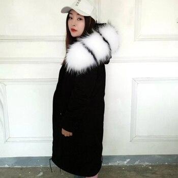 6136ba55131 Venta al por mayor 2019 real de piel de abrigo de invierno chaqueta de las  mujeres-X parka larga ...