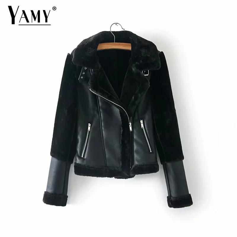 Winter fleece faux   leather   jacket women warm long sleeve biker jacket coat women Thick black   leather   jacket Motorcycle Outerwear