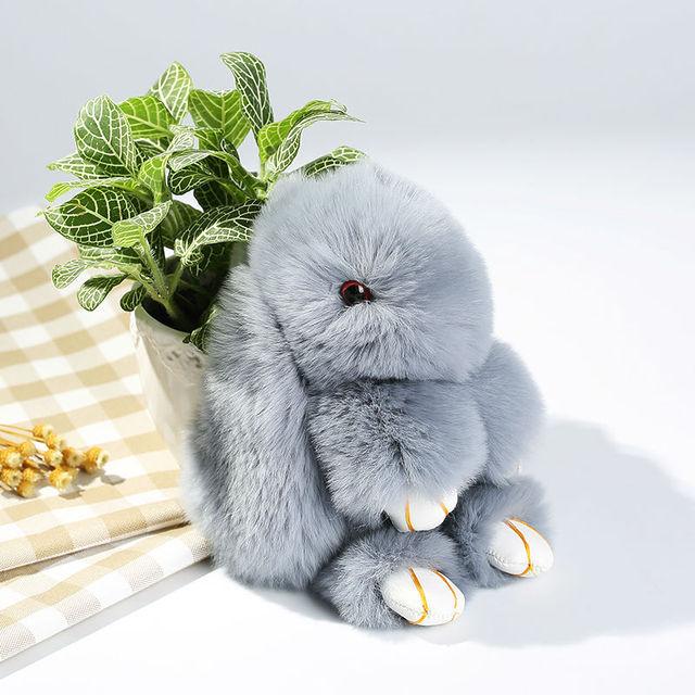 El envío libre de Piel de conejo Bolsa de Llavero de Coche Colgante Del Encanto Lindo 15 cm mullido Conejo Real Fur Llaveros regalo de cumpleaños de un amigo