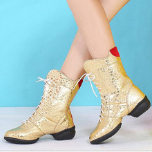 Women Dance Shoes Autumn and winter plus velvet thick with women's boots Gold, silver Dancing Shoes Plus Size34-42