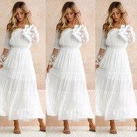 Women White Beach Dress Strapless Long Sleeve Loose Sexy Off Shoulder Lace Boho Chiffon Maxi Dress