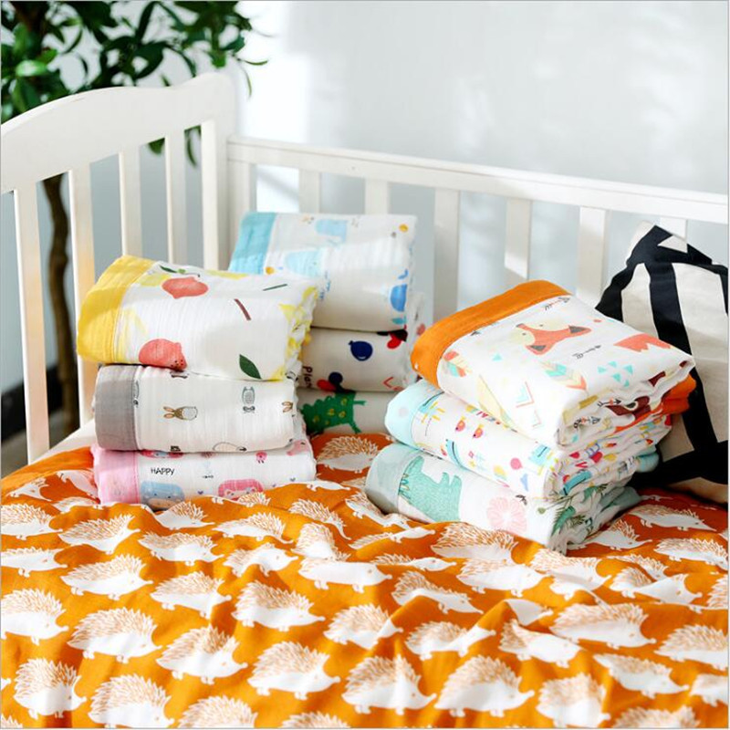110*120cm Bamboo Baby Receiving Blankets 4 Layers Bamboo Cotton Muslin Sleeping Blanket For Newborn Bed Cover Baby Blanket