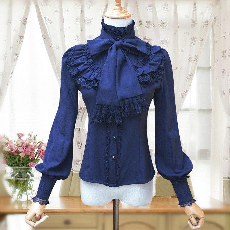 Image 4 - Vintage Women's Lolita Shirt Gothic Chiffon Ruffle Blouse Long Sleeve Blusas Black/White/Navy Blue/Burgundy-in Blouses & Shirts from Women's Clothing