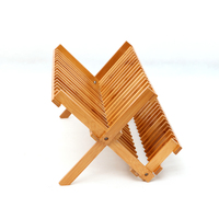 Natural Bamboo Dish Drying Rack Flatware Holder Plate Storage Holder Plate Wooden Flatware Foldable Dish Rack