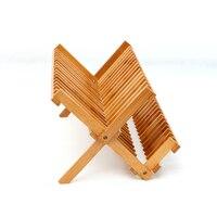 Prato de bambu natural de secagem rack talheres titular placa de armazenamento de madeira talheres dobrável prato rack