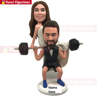 Weight Lifting Wedding Cake Topper Bodybuilding Cake Topper Topper Personalized Weight Lifting Groom Bride on Barbells Funny