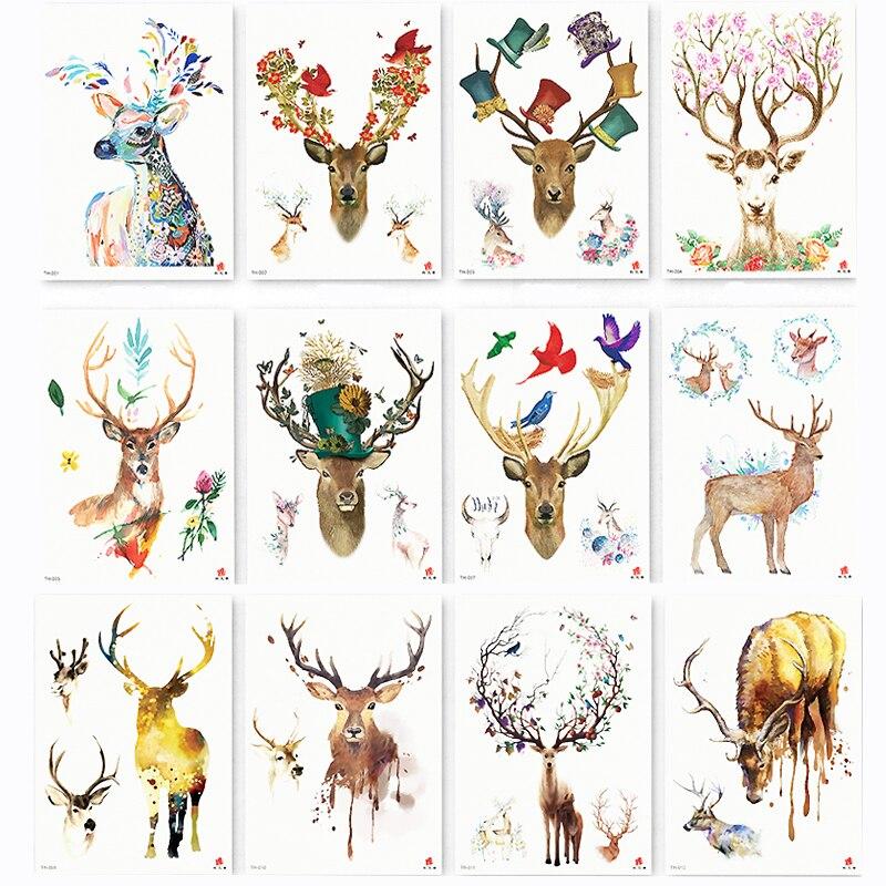12 Stücke Aquarell Deer Temporäre Körper Tattoo So Schön Kann Verwendet Werden Für Schulter, Oberschenkel, Oder Zurück Körper Decor