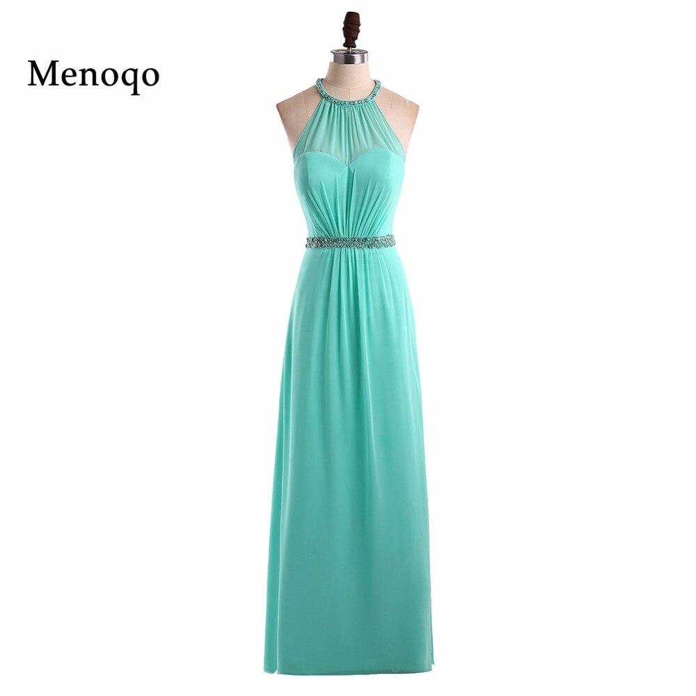 Menoqo Robe Demoiselle D'honneur Chiffon A Line   Bridesmaid     Dresses   Long 2018 Vestido Madrinha Casamento