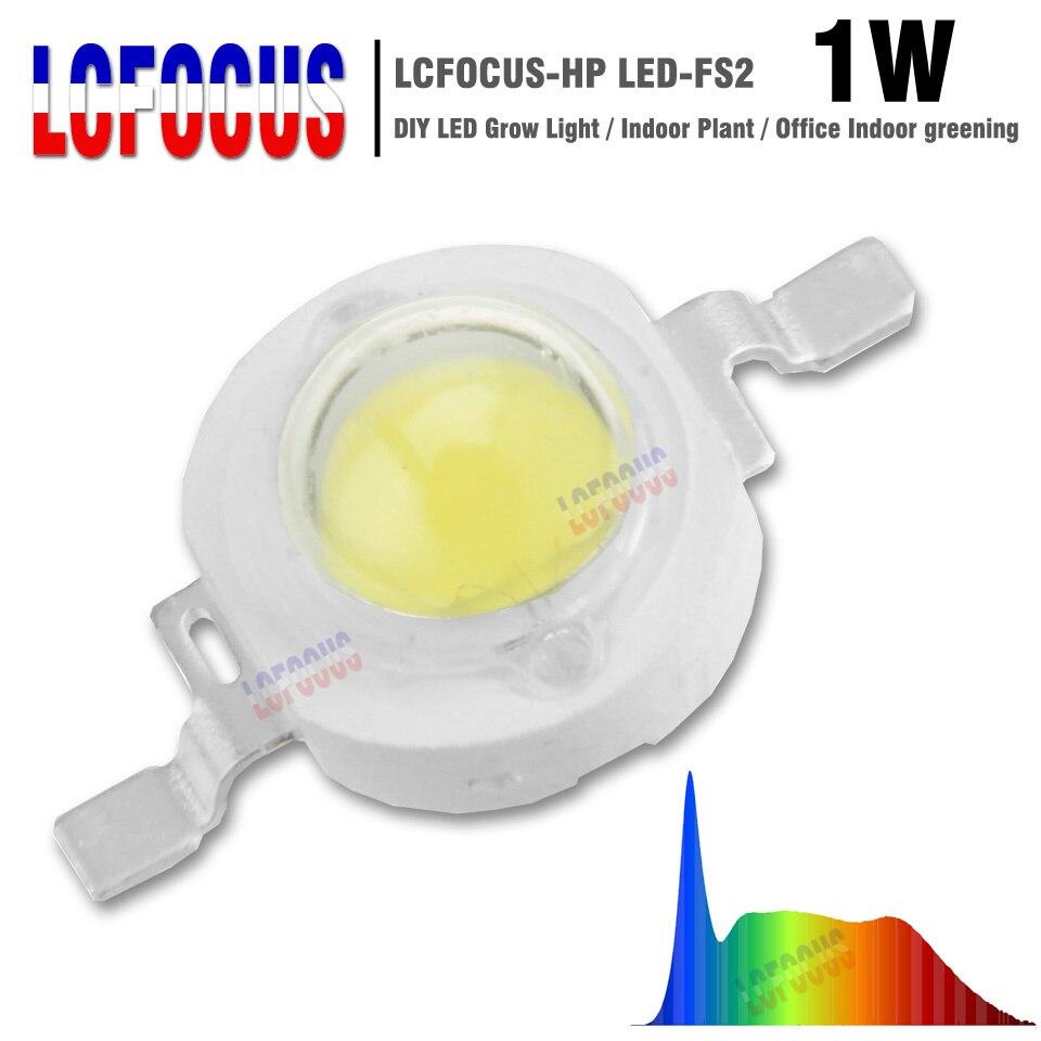 LED Grow Light 1 Вт полный спектр 380-840nm 45mil COB SMD Диодная лампочка лампа для комнатных растений Овощи Фрукты Цветы выращивание