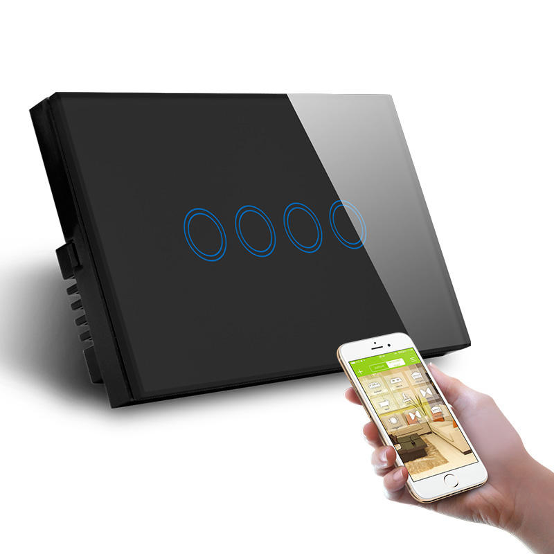 Quatre Gangs WiFi Contrôle Interrupteur Mural US UA Tactile Standard Vie Intelligente Tuya Contrôle - 2