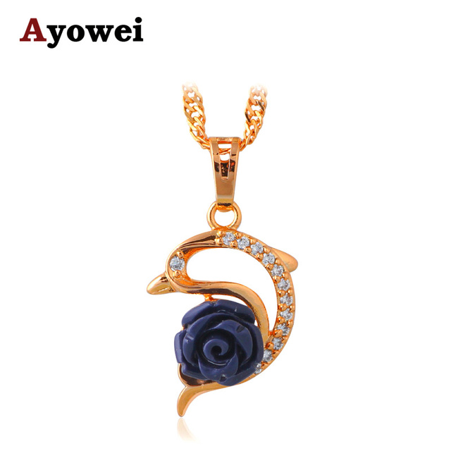 Dolphin Design Gold tone Black Rose for Mysterious Goddess Fashion