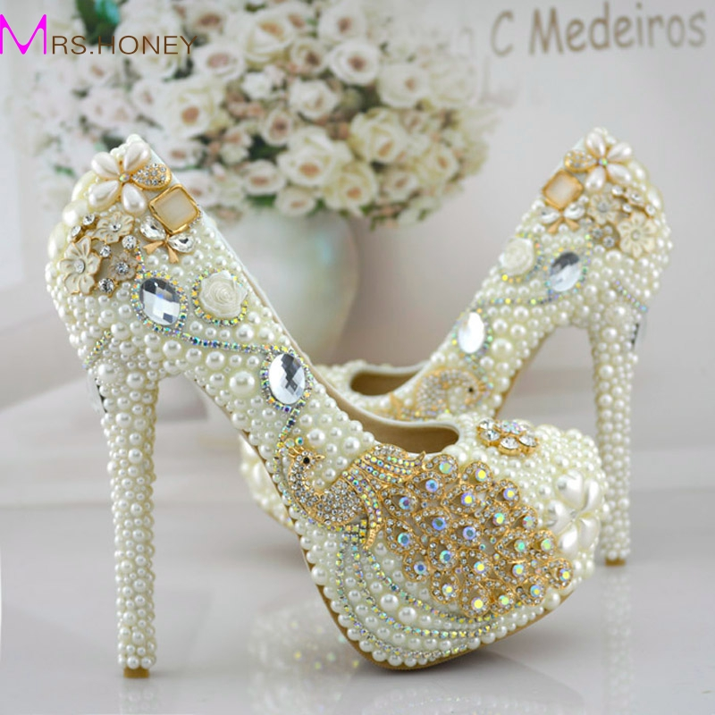 Phoenix Rhinestone Prom Party Shoes Womens Modeling Event Shoes Function Beautiful High Heels Pearl Bridal Wedding Dress Shoes beautiful fashion blue wedding shoes for woman rhinestone bridal dress shoes lady high heel luxurious party prom shoes