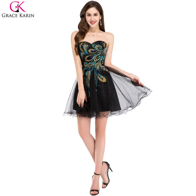 Black Peacock Dress Grace Karin Cocktail Dresses Elegant Strapless Knee Length Formal Party Tulle Short Special Occasion Dresses