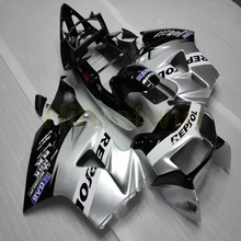 VFR800 ためのカスタムモーターサイクル用 abs フェアリング 1998 1999 2000 2001 vfr 800 98 01 + botls + シルバー M2
