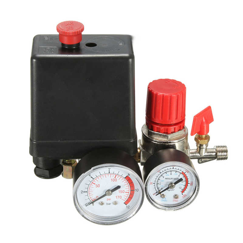 240V AC Regulator Heavy Duty Air Compressor Pump Pressure 4 พอร์ต Air ปั๊มควบคุม 7.25- 125 PSI Gauge