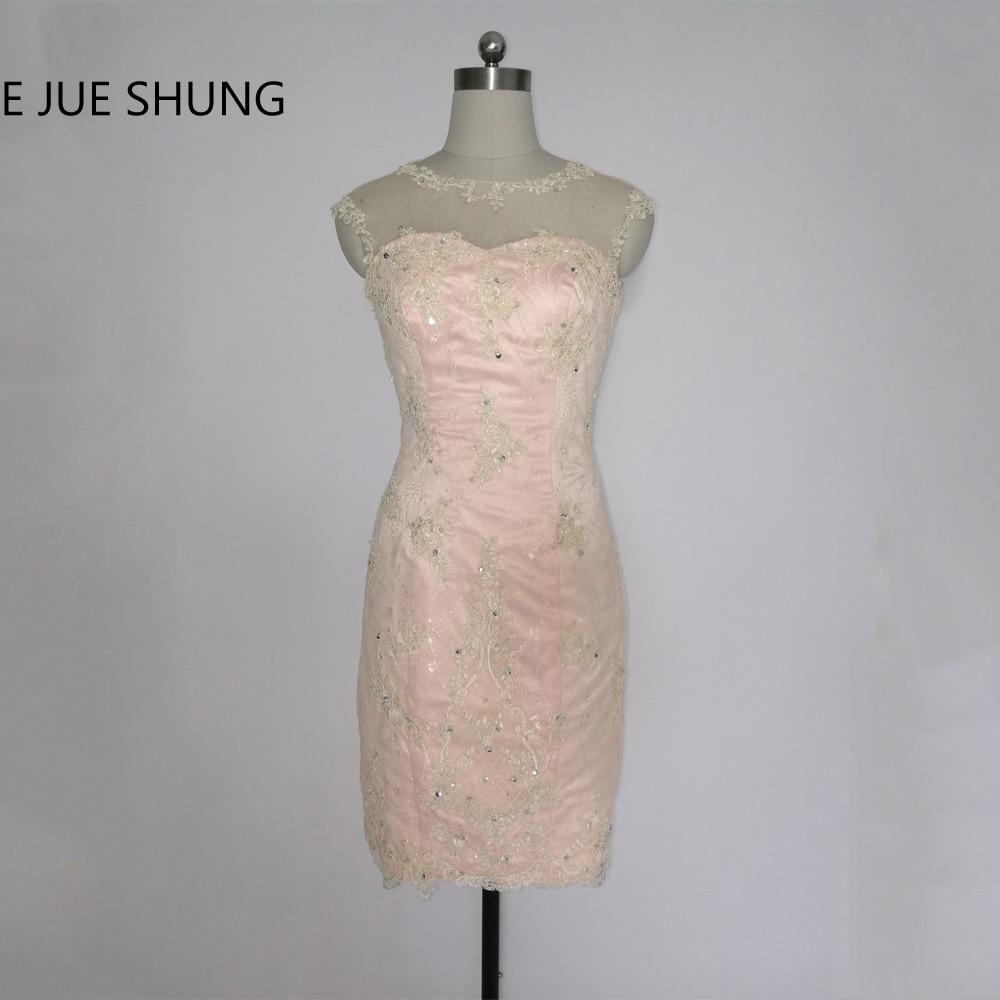 E JUE SHUNG Designer Champagne Lace Schede Kapmouwtjes Knie lengte Kralen Moeder van de bruid Jurken Korte Avondjurken