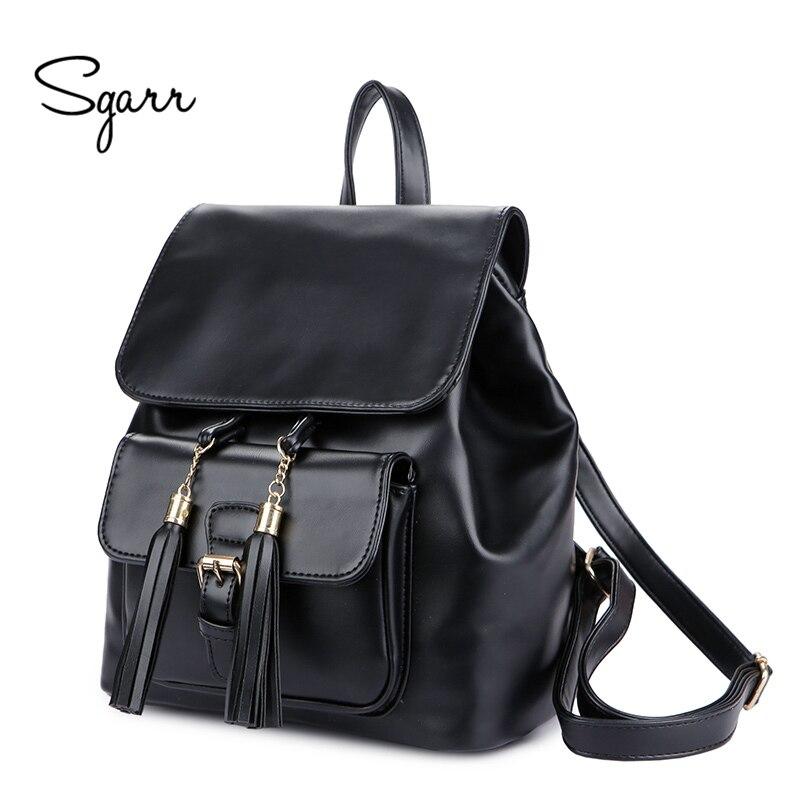 SGARR Fringe Backpack Women PU Leather Drawstring School Bag For Teenager Girls Fashion Lady Travel Bag