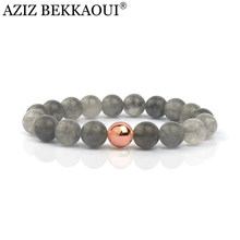Natural Stone Beads Bracelets For Women Fashion Grey Stone Elastic Brand Bracelets & Bangles Pulseras Summer Fresh Fine Jewelry(China)