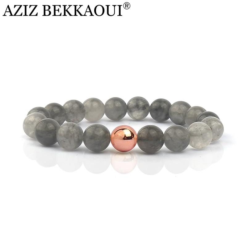 Natural Stone Beads Bracelets For Women Fashion Grey Stone Elastic Brand Bracelets & Bangles Pulseras Summer Fresh Fine Jewelry