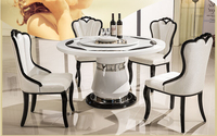 Ou eat chair recreational chair Korean white PU leather solid wood chair