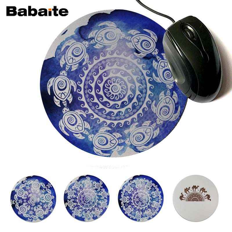 Babaite 2019 New Turtles Image Customized laptop Gaming mouse pad Professional Round Gaming Mousepad Keyboard Mat