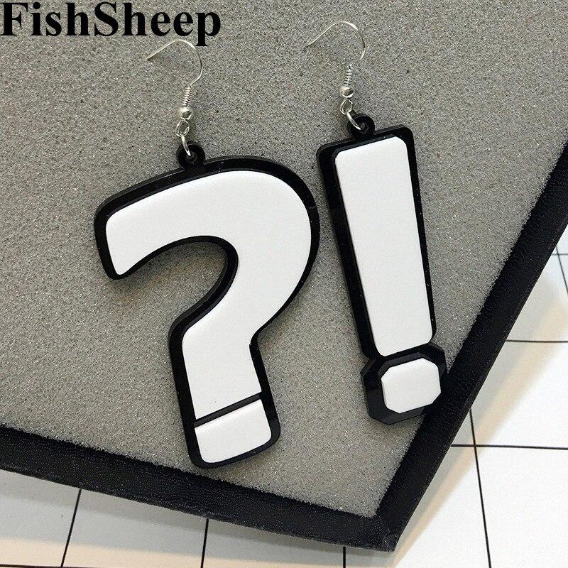 FishSheep Fashion Acrylic Question & Exclamation Mark Big Earrings For Women Ladys Night Club Dangle Earrings Jewelry