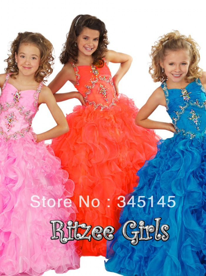 Free Shipping Spaghetti Straps Floor Length Ruffles Organza Ball Gown Pageant   Dresses   For   Girls   Beads Sequins   Flower     Girl     Dress
