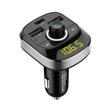 Bluetooth Handsfree Kit Type-C Usb Car Charger Fm Transmitter Radio Tf Card Music Mp3 Player Wireless Hands-Free Car Kit(Silve недорого