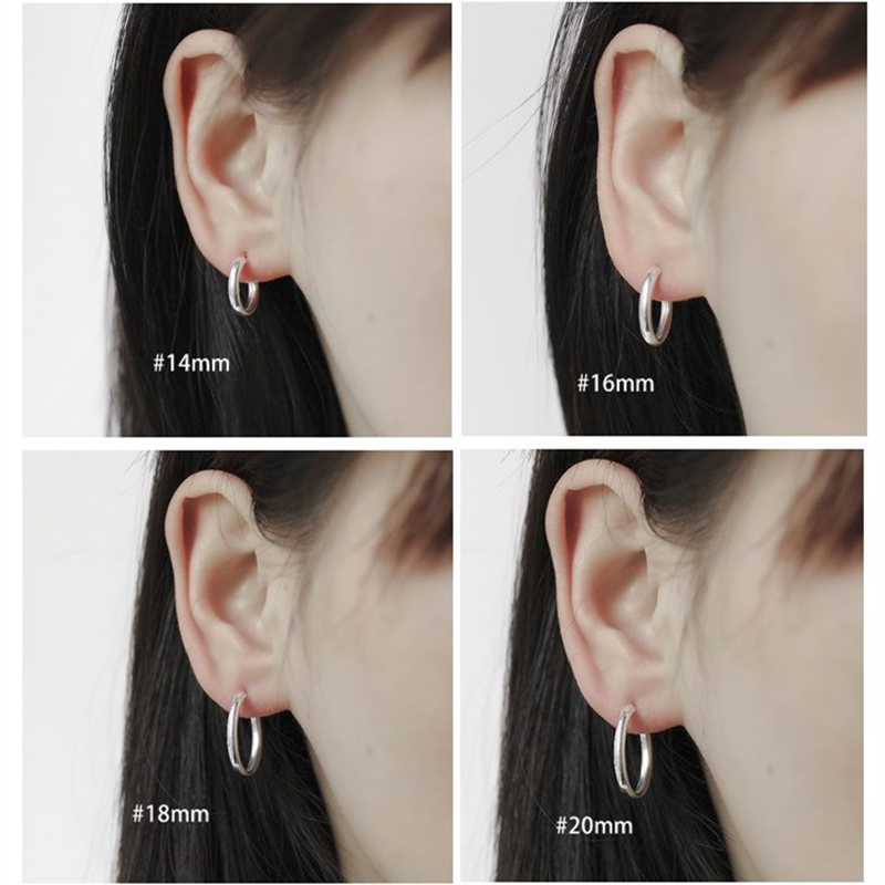 c6cc08e3aa2f7 US $7.32 10% OFF|Round Hoop Earrings Genuine 925 Sterling Silver 14mm,16mm,  18mm, 20mm for Men Trendy Circle Earrings Thick than Normal One-in Hoop ...